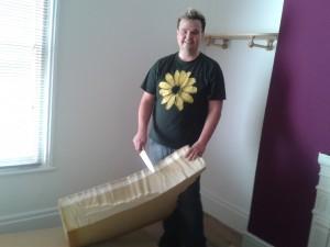 Chris gutting the the memory foam mattress
