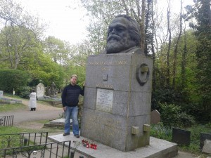Chris at the Grave of Karl Marx in Highgate Cemetery, London